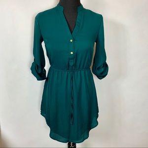 Charlotte Russe Shirt Dress Mini Emerald sz XS